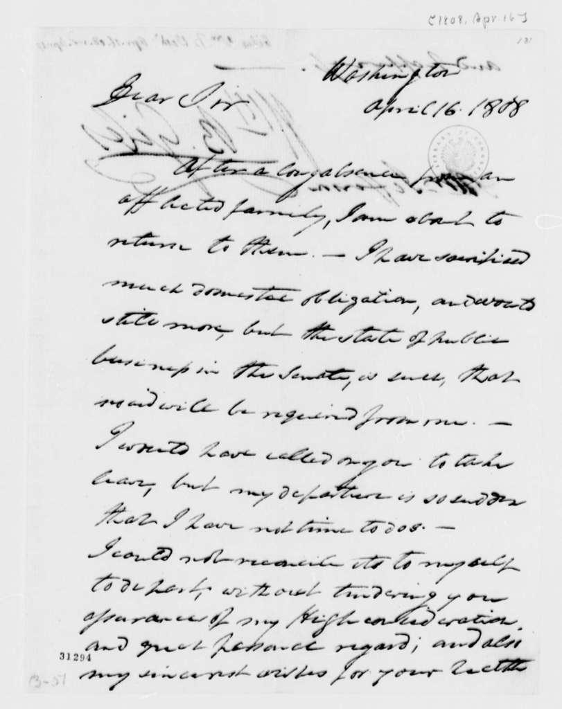 William B. Giles to Thomas Jefferson, April 16, 1808