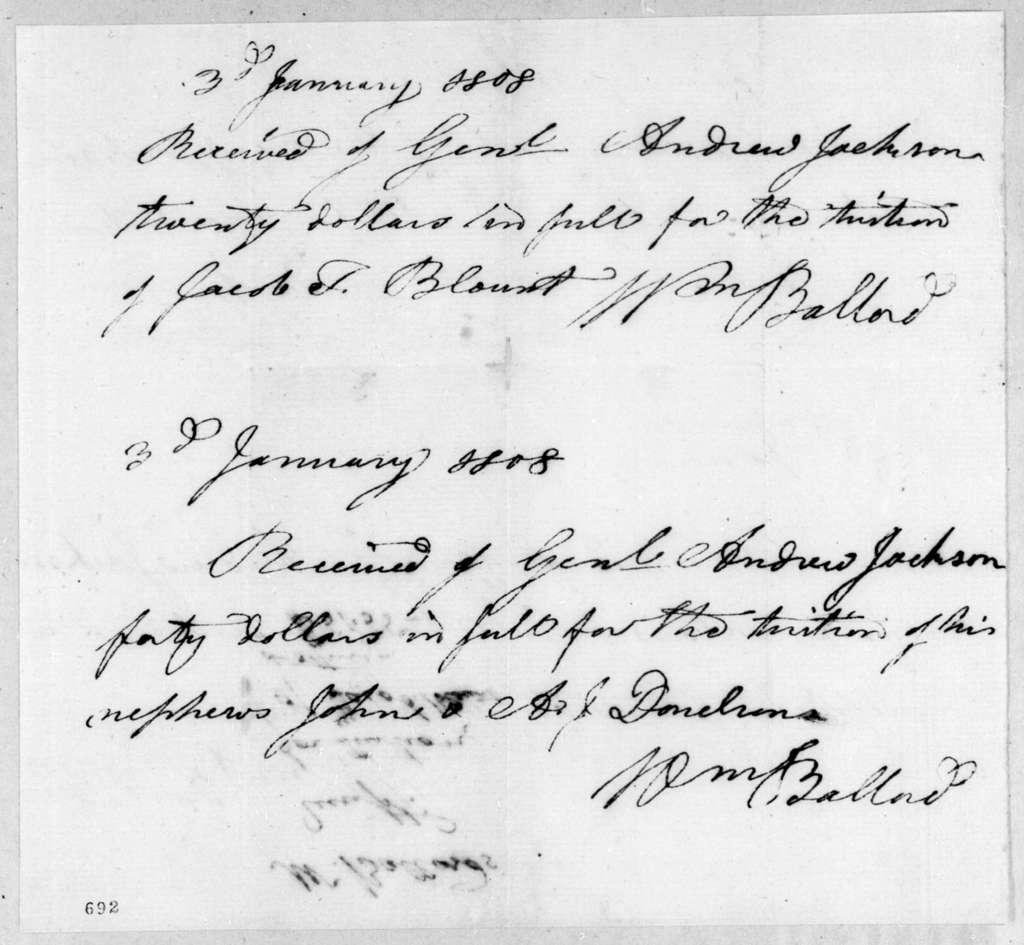 William Ballard to Andrew Jackson, January 3, 1808