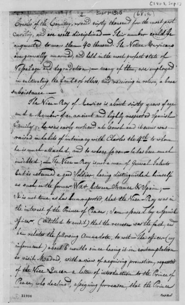 William C. C. Claiborne to Thomas Jefferson, September 1, 1808