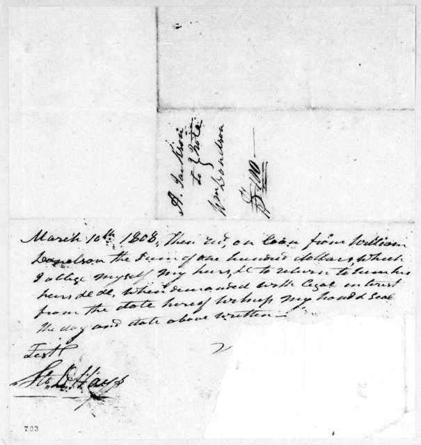 William Donelson to Andrew Jackson, March 10, 1808