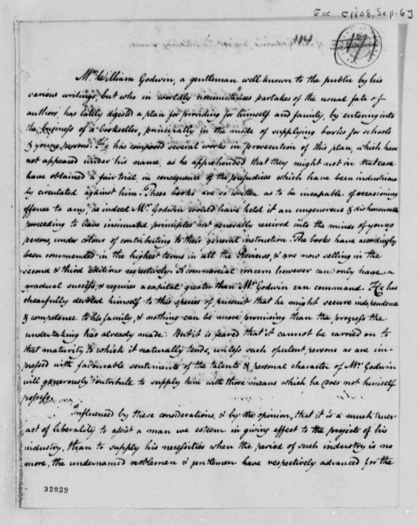 William Godwin to Thomas Jefferson, September 6, 1808