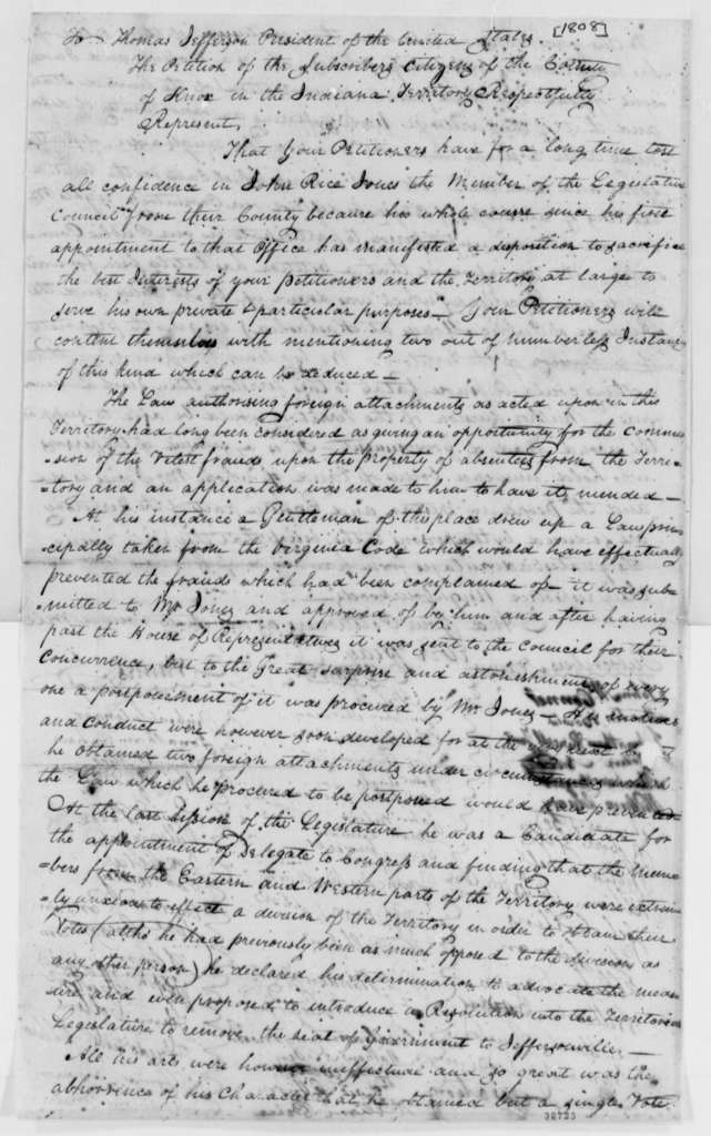 William H. Harrison to Thomas Jefferson, July 16, 1808, with Petition from Citizens of Knox County, Indiana Territory