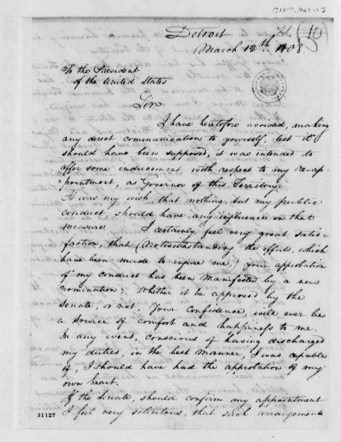 William Hull to Thomas Jefferson, March 12, 1808