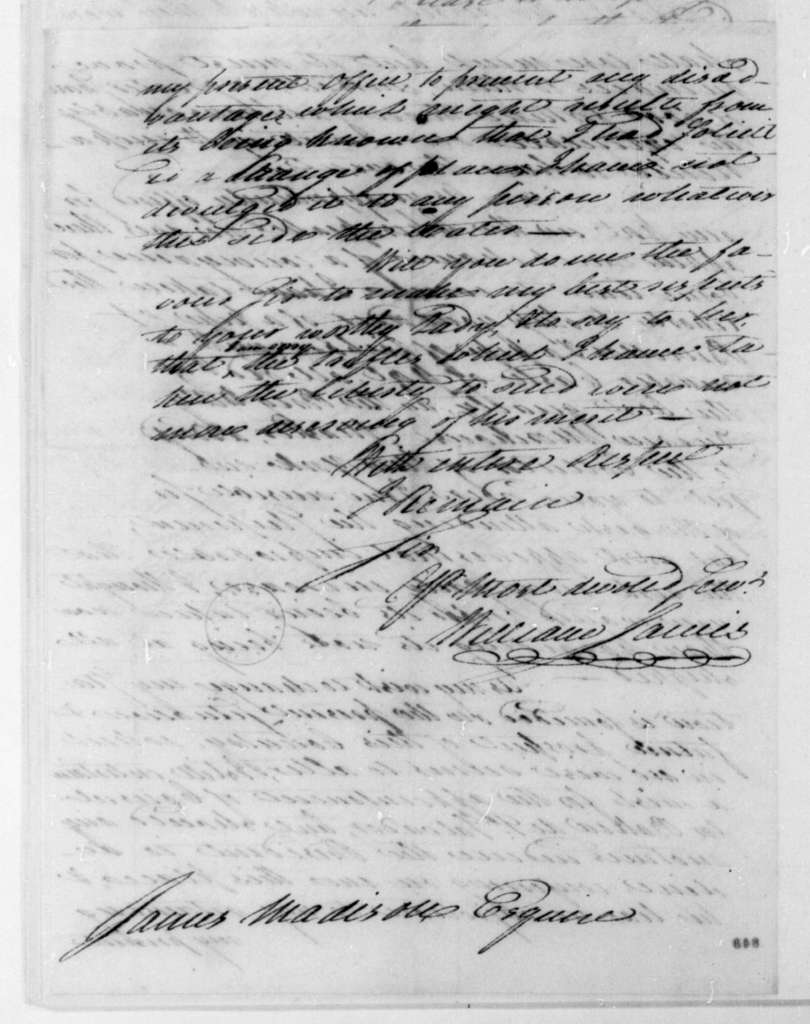 William Jarvis to James Madison, February 28, 1808. Includes bill of lading and invoice.