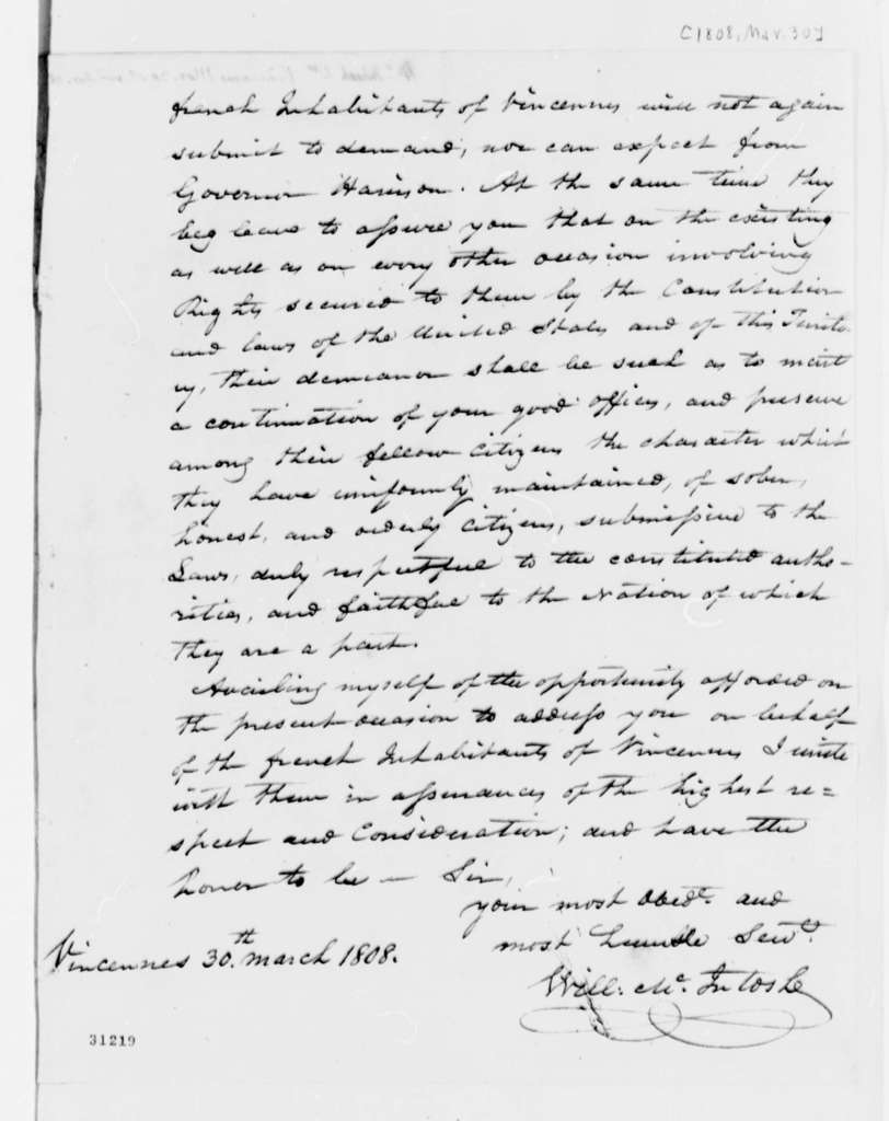 William Mcintosh to Thomas Jefferson, March 30, 1808