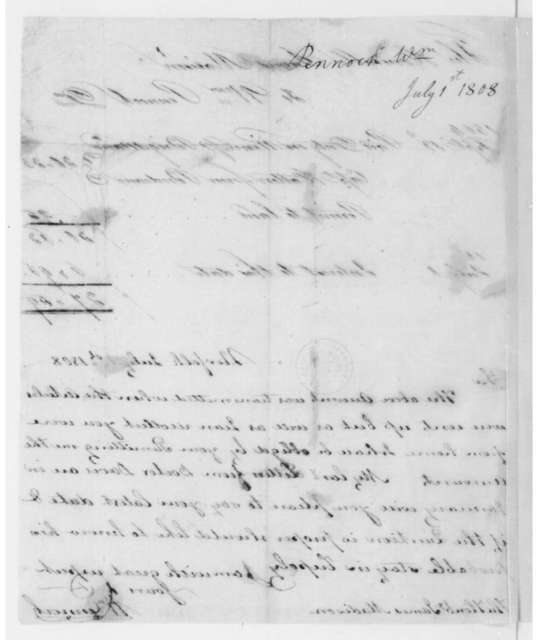 William Pennock to James Madison, July 1, 1808. With Account.