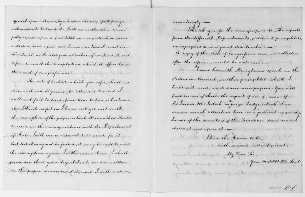 William Pinkney to James Madison, April 25, 1808. With Copy.