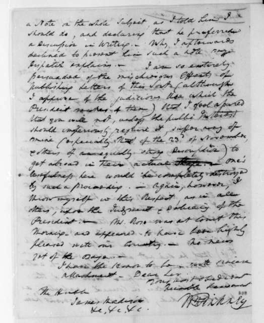 William Pinkney to James Madison, April 27, 1808.