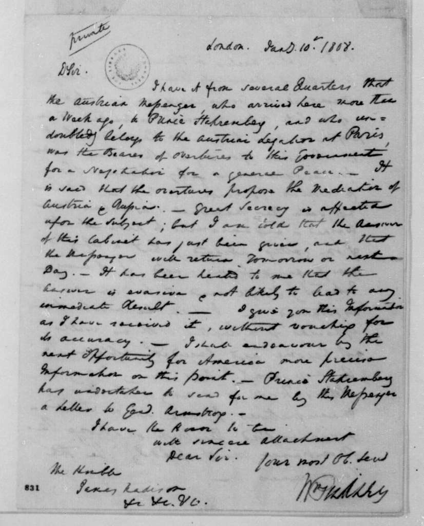 William Pinkney to James Madison, January 10, 1808.