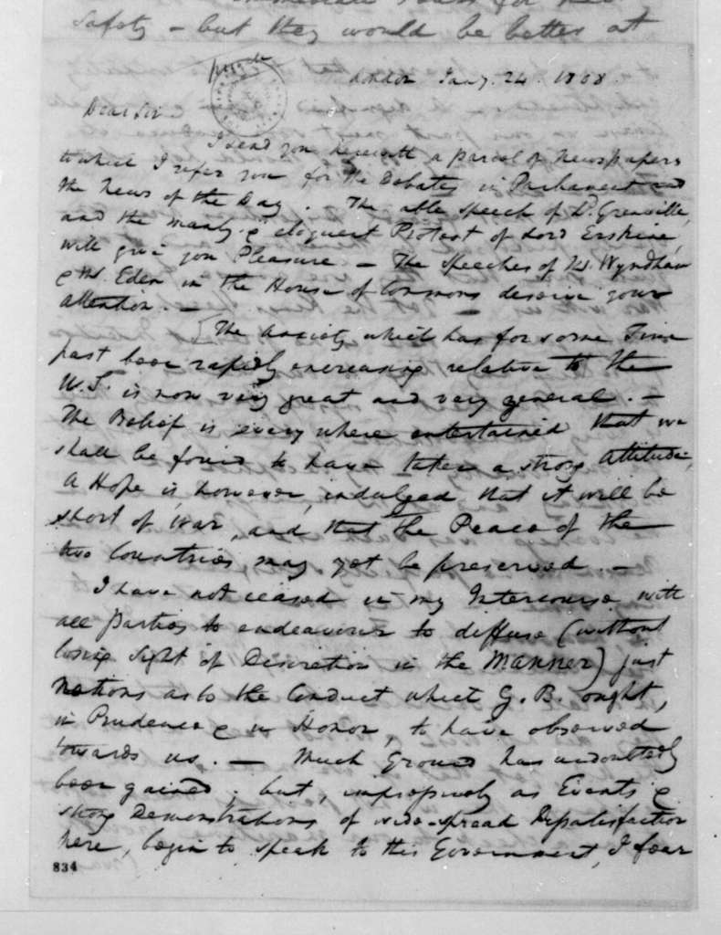 William Pinkney to James Madison, January 24, 1808. Partly in cipher.