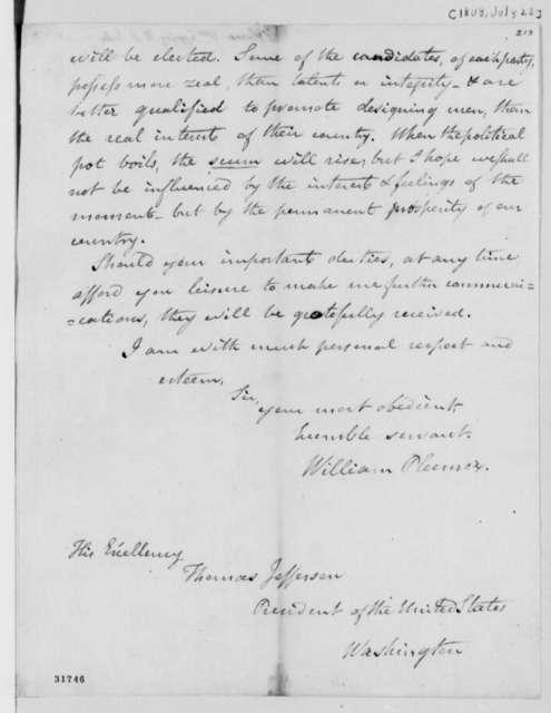 William Plumer to Thomas Jefferson, July 22, 1808