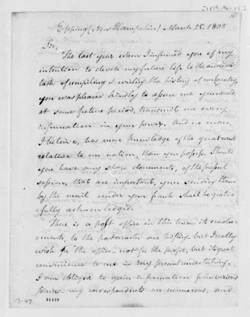 William Plumer to Thomas Jefferson, March 25, 1808