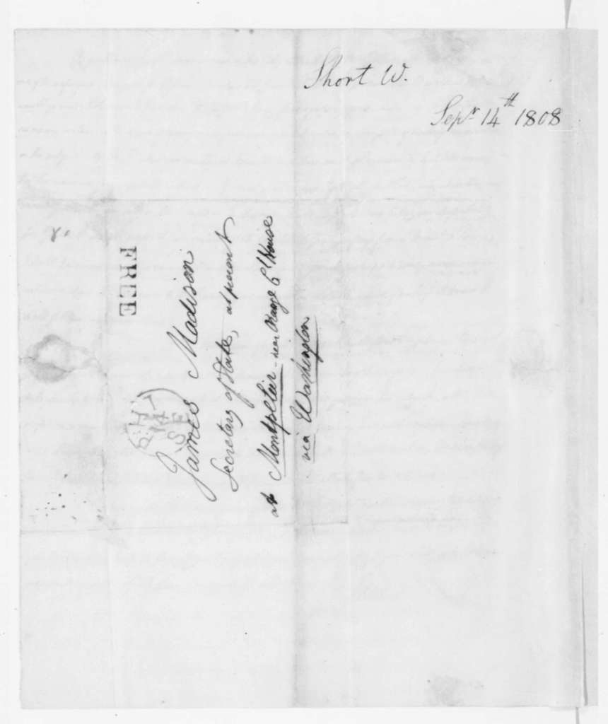 William Short to James Madison, September 14, 1808.