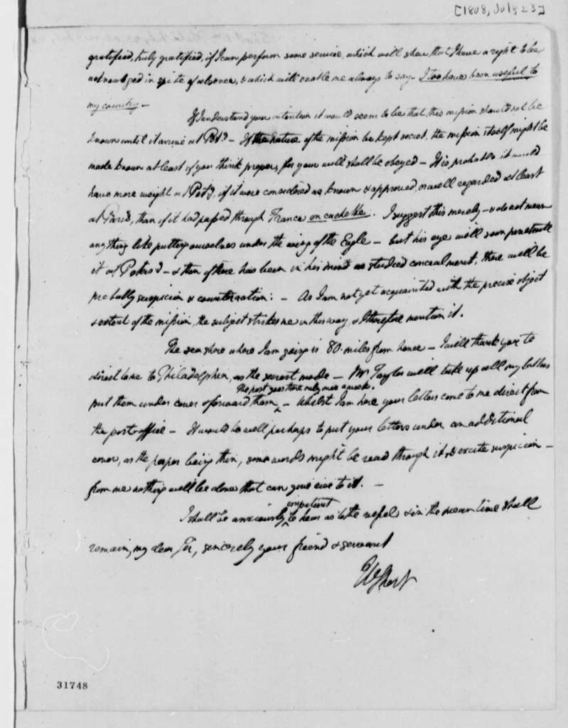 William Short to Thomas Jefferson, July 23, 1808