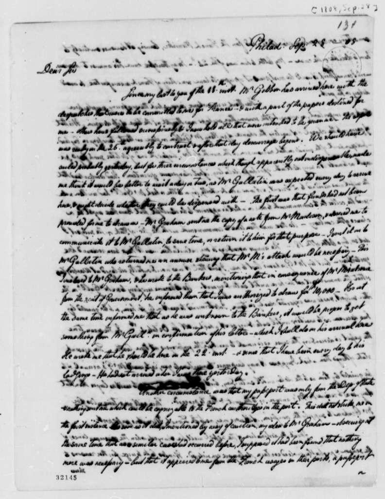 William Short to Thomas Jefferson, September 28, 1808
