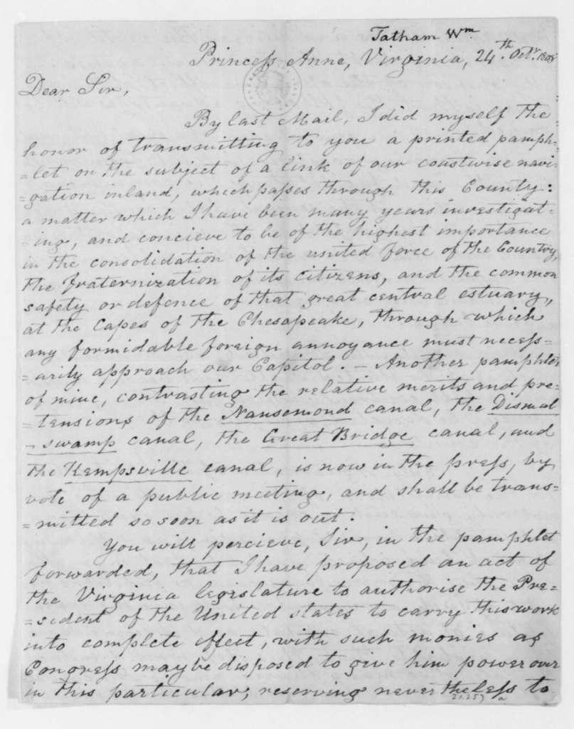 William Tatham to James Madison, October 24, 1808.