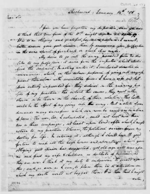 William Wirt to Thomas Jefferson, January 14, 1808