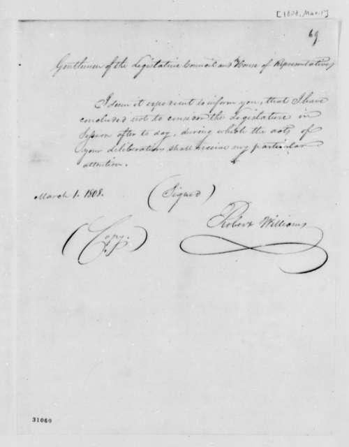 Williams to Mississippi Territory Legislature, March 1, 1808, Dissolution