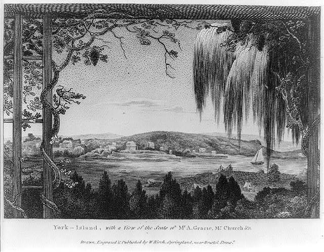 York-Island, with a view of the seats of Mr. A. Gracie, Mr. Church &c. / drawn, engraved & published by W. Birch, Springland near Bristol, Penns'a.