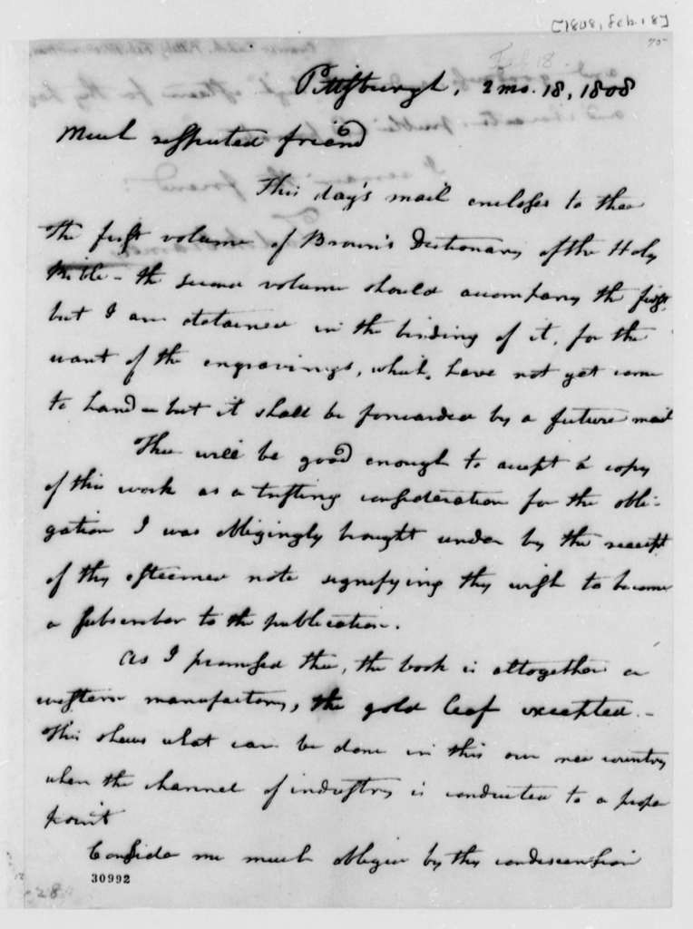Zadok Cramer to Thomas Jefferson, February 18, 1808