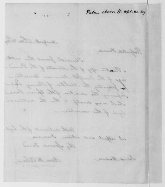 Aaron H. Palmer to James Madison, April 20, 1809.
