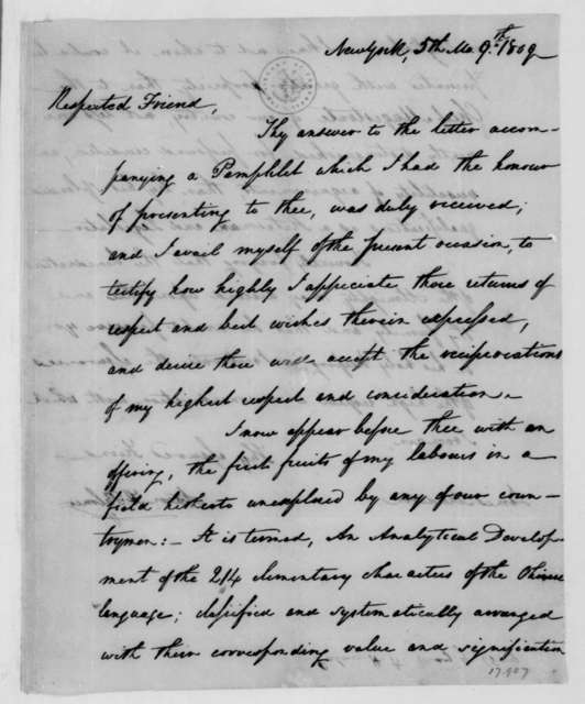 Aaron H. Palmer to James Madison, May 9, 1809.