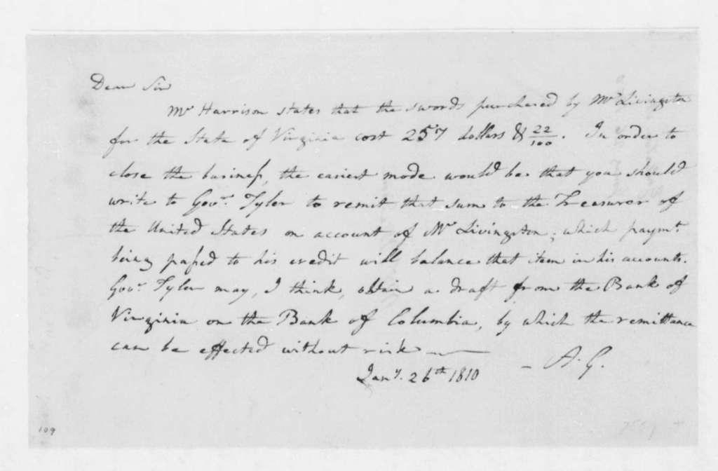 Albert Gallatin to James Madison, January 26, 1809.