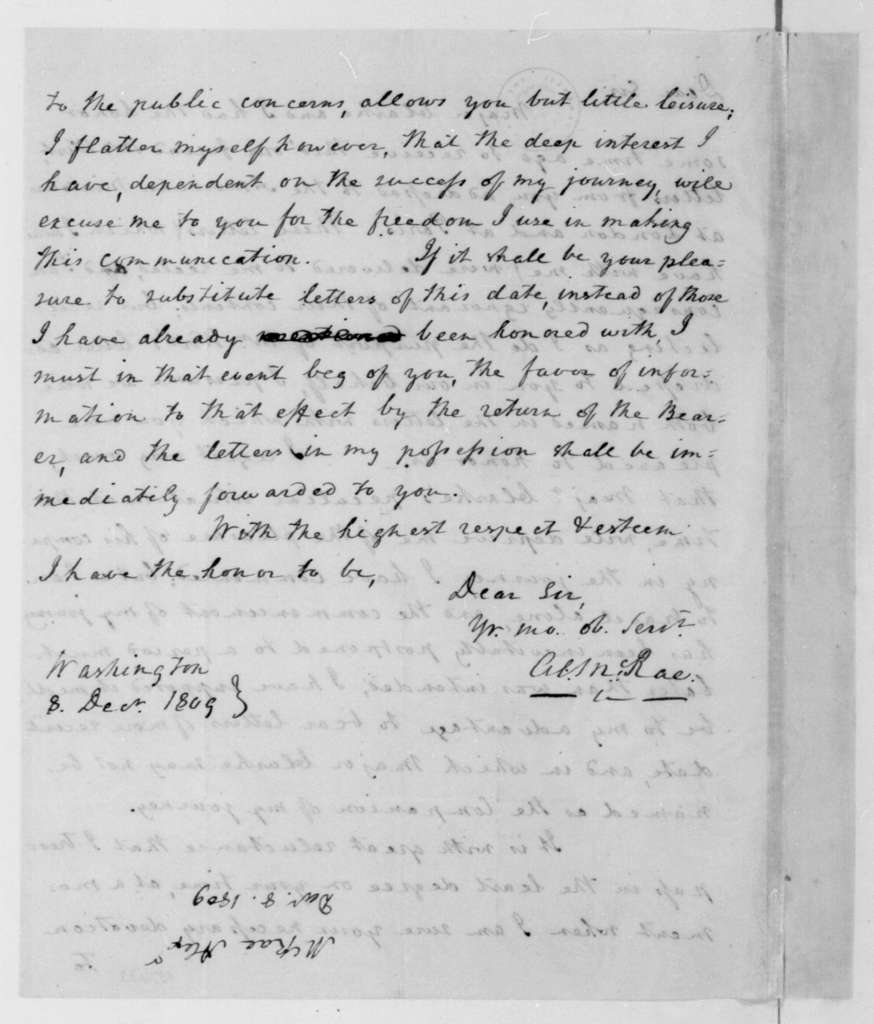 Alexander McRae to James Madison, December 8, 1809. Two of Same Date.