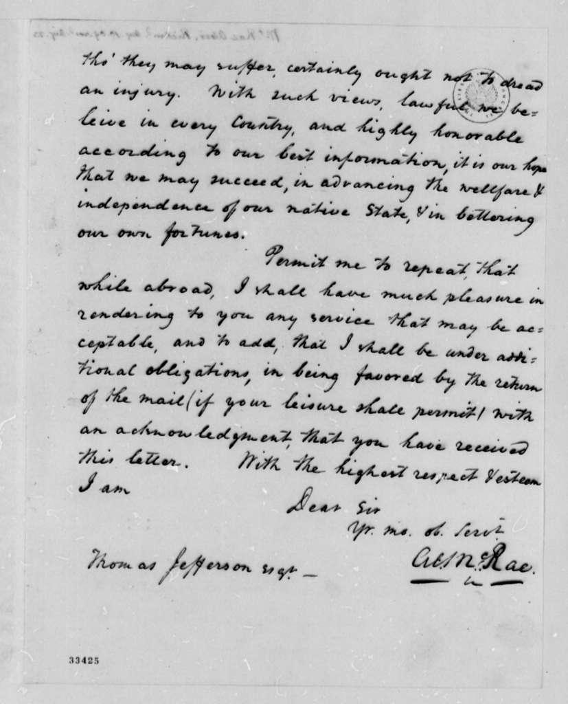 Alexander McRae to Thomas Jefferson, August 10, 1809
