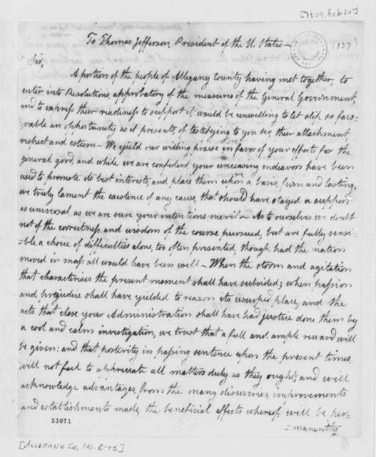 Allegany County, Maryland, Citizens to Thomas Jefferson, February 20, 1809, Address and Resolution