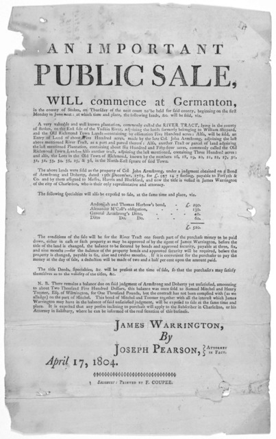 An important public sale, will commence at Germanton, in the county of Stokes, on Thursday of the next court to be held for said county, beginning on the first Monday in June next; at which time and place, the following lands, &c. will be sold .