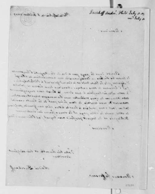 Andre de Daschkoff to Thomas Jefferson, July 5, 1809, in French