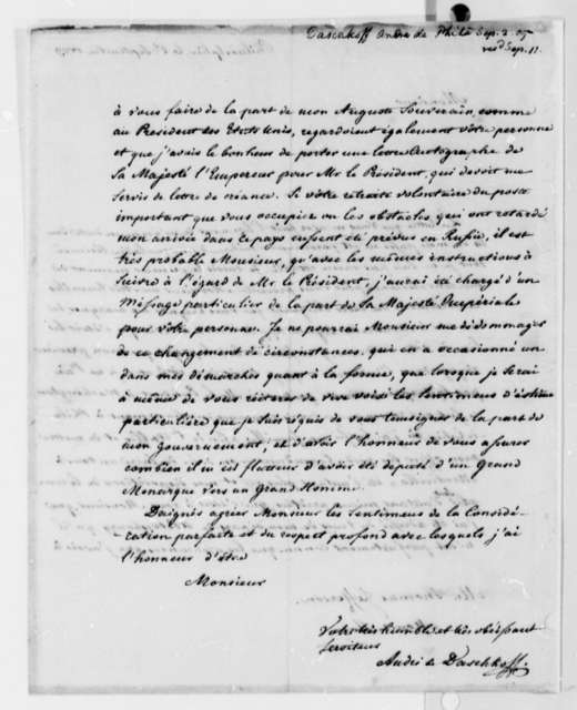 Andre de Daschkoff to Thomas Jefferson, September 2, 1809, in French