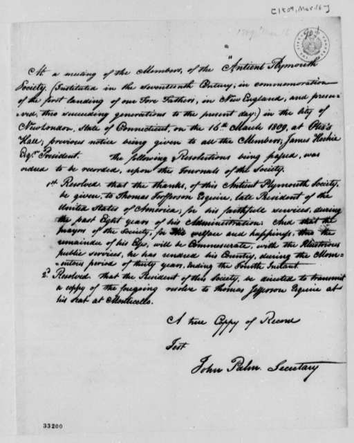 Antient Plymouth Society, March 16, 1809, Resolution