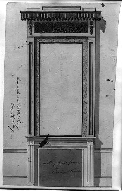 "Architectural drawing for a frame (""looking glass frame for President's house"") for Dolley Madison, 1600 Pennsylvania Avenue, N.W., Washington, D.C."