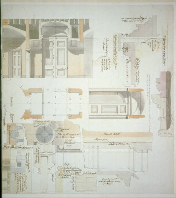 Architectural drawing for a house for John Markoe, near 9th Street and Chestnut Street, Philadelphia, Pennsylvania