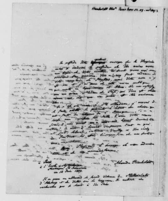 Baron von Humboldt to Thomas Jefferson, June 12, 1809, in French