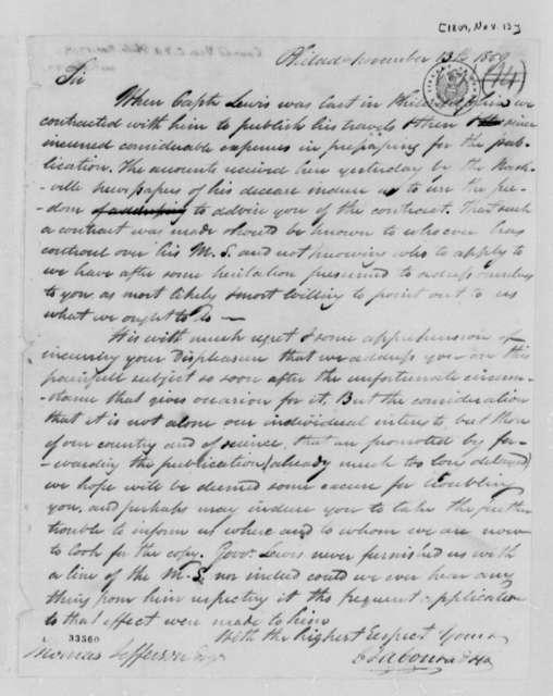 C. & A. Conrad & Company to Thomas Jefferson, November 13, 1809