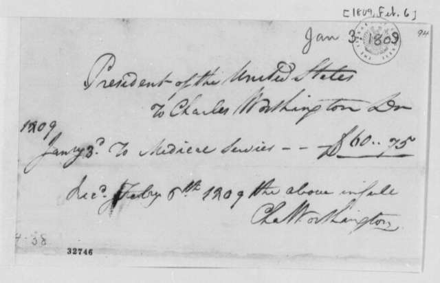 Charles Worthington, February 6, 1809, Receipt of Medical Services