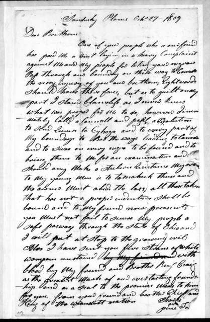 [Chief] Weandotte to Kentucky Citizens, October 27, 1809