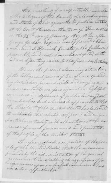 Citizens of Muskingum Co., Ohio, February 25, 1809. Resolutions.