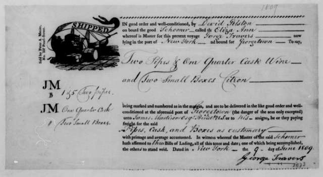 David Gelston to James Madison, June 9, 1809. With account & bill of lading.