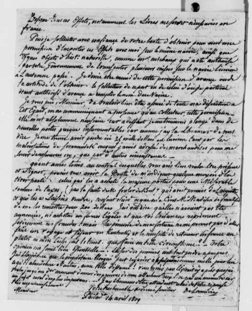 De Lormerie to Thomas Jefferson, April 14, 1809, in French