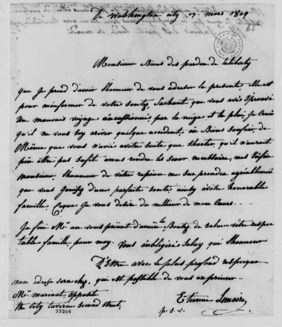 Etienne le Maire to Thomas Jefferson, March 17, 1809, in French