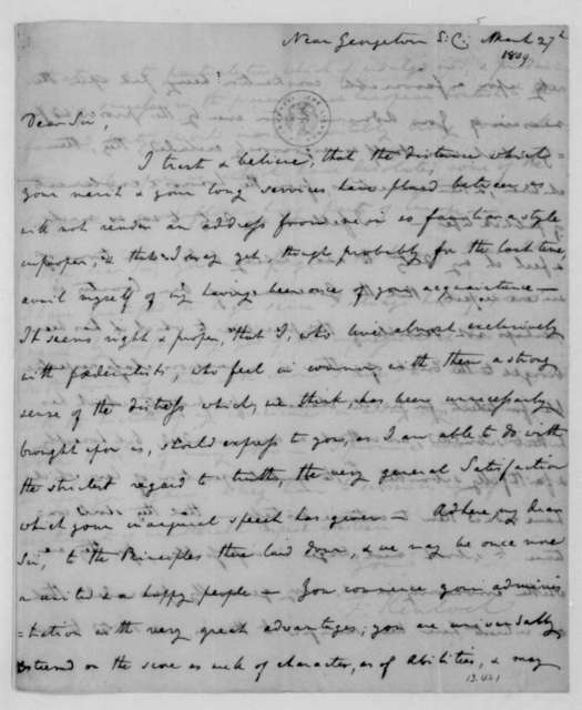 Francis Kinloch to James Madison, March 27, 1809.