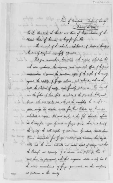 Frederick County, Maryland, Citizens to Thomas Jefferson, February 18, 1809