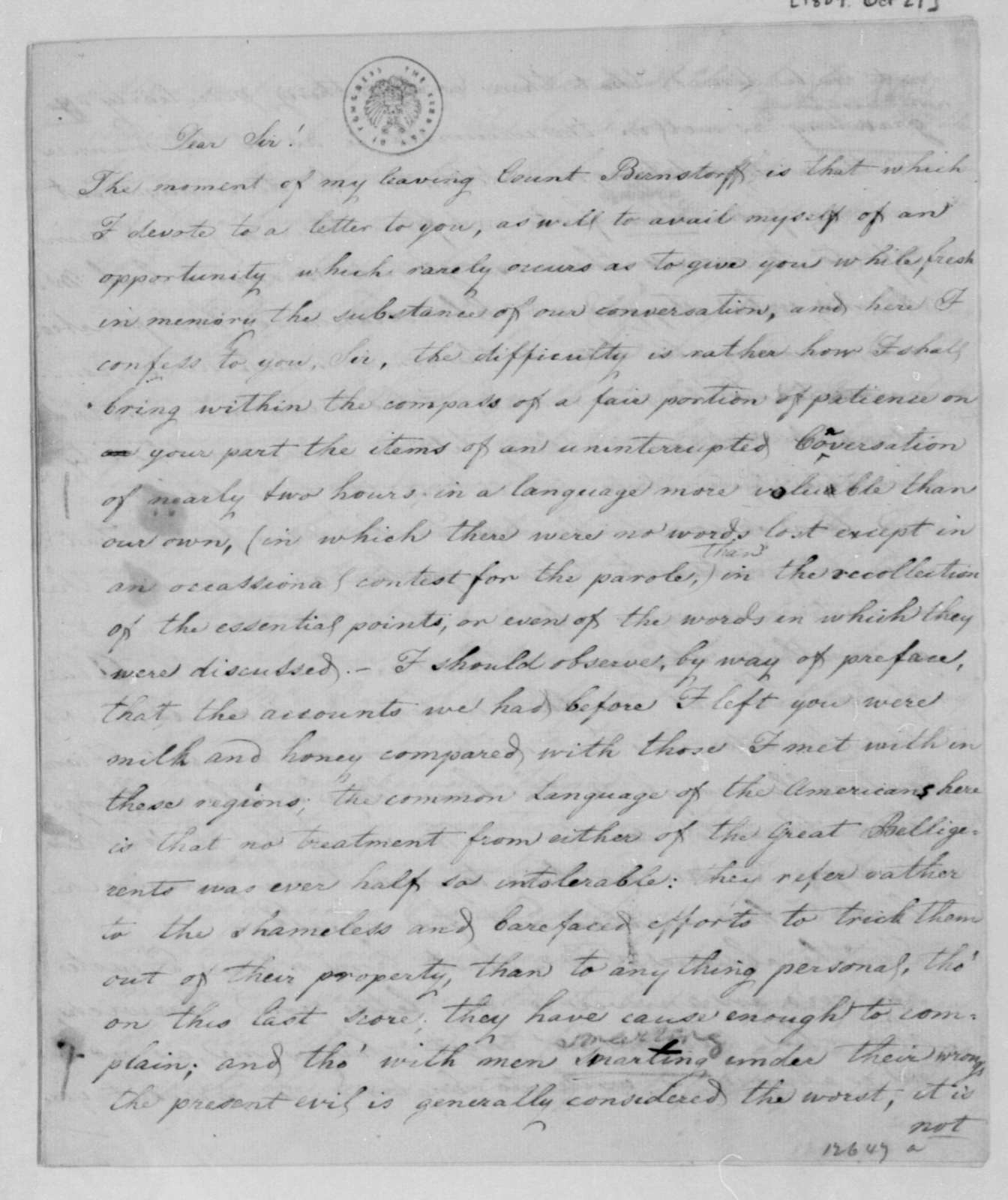 George Joy to William Pinkney, October 27, 1809.