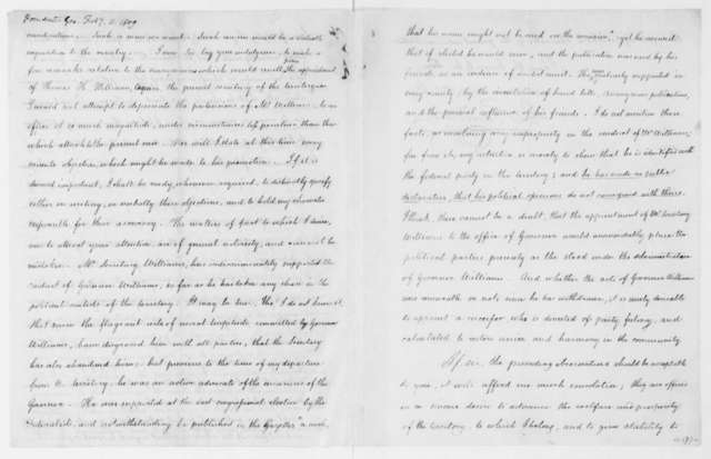 George Poindexter to James Madison, February 11, 1809.