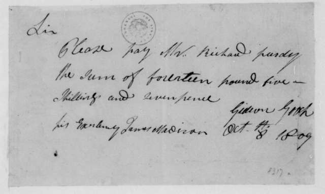Gideon Gooch to James Madison, October 8, 1809. Order to Pay.
