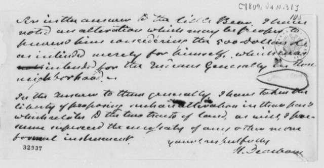 Henry Dearborn to Thomas Jefferson, January 31, 1809, Note on Little Bear